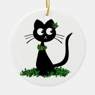 Holly Kuro Round Ceramic Decoration
