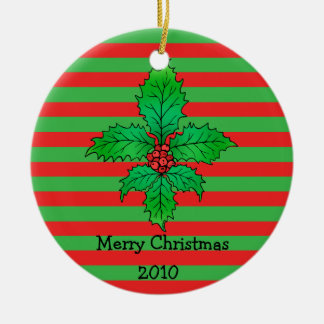 Holly leaf Fleur de lis 2 Double-Sided Ceramic Round Christmas Ornament