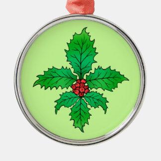 Holly leaf Fleur de lis Christmas Ornament