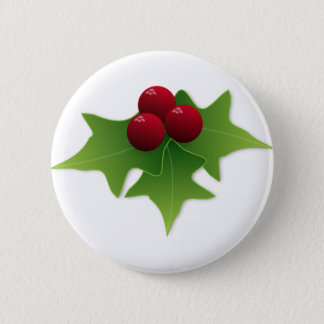 Holly Leaf with Berries 6 Cm Round Badge