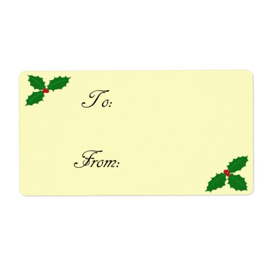 Holly Leaves and Berries Gift Tag Label