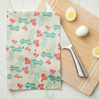 Holly Leaves and Berries Retro Style Kitchen Towel
