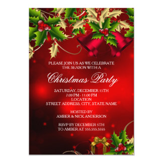 Holly Leaves & Bell Red Christmas Party Invite
