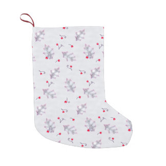Holly Leaves & Berries Pattern Christmas Stockings