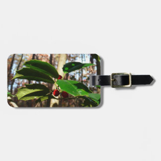 Holly Leaves I Holiday Christmas Nature Botanical Luggage Tag