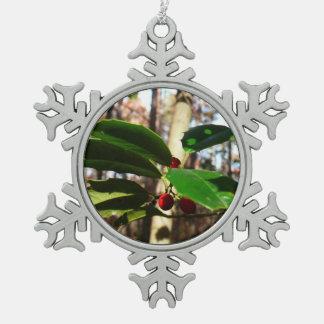 Holly Leaves I Holiday Christmas Nature Botanical Snowflake Pewter Christmas Ornament