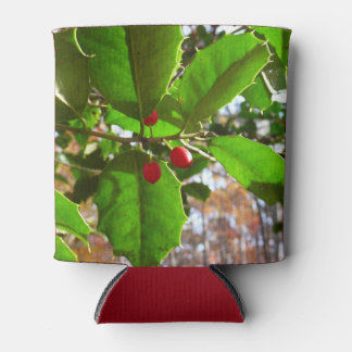 Holly Leaves II Holiday Nature Botanical Can Cooler