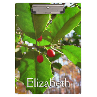 Holly Leaves II Holiday Nature Botanical Clipboard