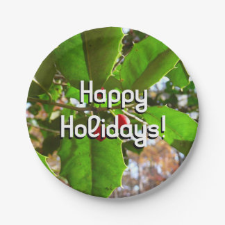 Holly Leaves II Holiday Nature Botanical Paper Plate