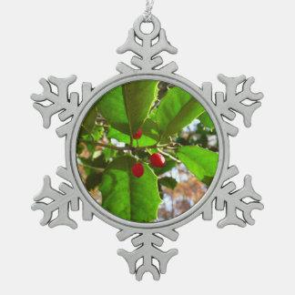 Holly Leaves II Holiday Nature Botanical Pewter Snowflake Decoration