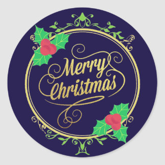Holly Leaves Merry Christmas Holiday Sticker