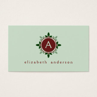 Holly Leaves Monogram Green Red Christmas Holidays Business Card