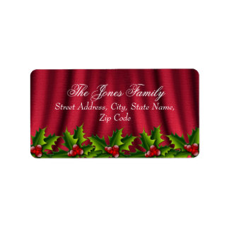 Holly Leaves & Red Silk Christmas Address Labels