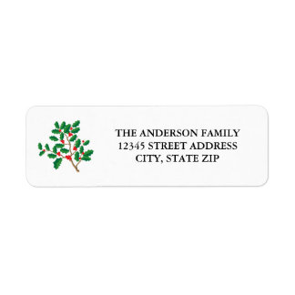 Holly Merry Christmas - Address Label