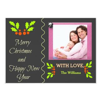 Holly Merry Christmas Happy New Year Photo Card 13 Cm X 18 Cm Invitation Card