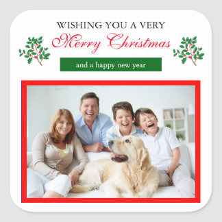 Holly Merry Christmas - Square Sticker