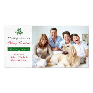 """Holly """"Merry Christmas"""" White - Photo Card"""