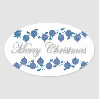 Holly n Christmas decorations modern Oval Sticker