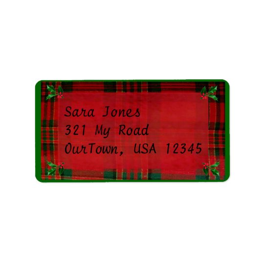 Holly on Red Plaid Address Label