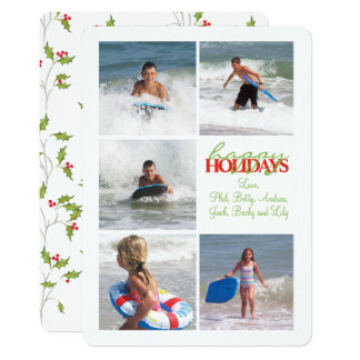 Holly Pattern Double Sided Multi Photo Card