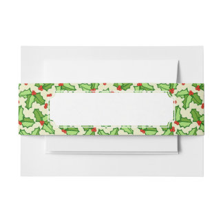 Holly Pattern Invitation Belly Band