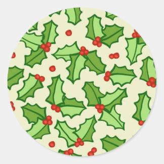 Holly Pattern Round Sticker