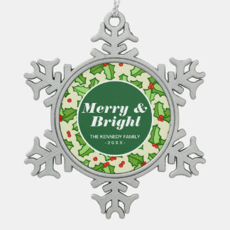 Holly Pattern Snowflake Pewter Christmas Ornament