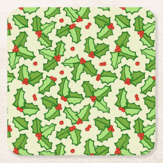 Holly Pattern Square Paper Coaster