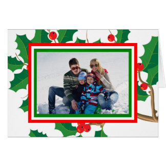 Holly Photo - Folded Christmas Card