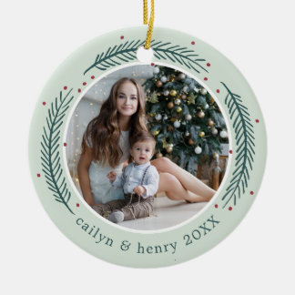 Holly & Pine Photo Christmas Ornament
