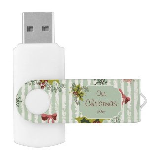 Holly, Pink Bows and Aqua Stripes USB Flash Drive