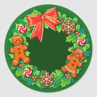HOLLY, PINWHEELS & GINGER WREATH by SHARON SHARPE Classic Round Sticker
