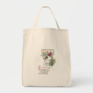 Holly & Poinsettia Little Girl Vintage Christmas Canvas Bag