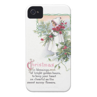 Holly Poinsettia Little Girl Vintage Christmas Case-Mate iPhone 4 Cases