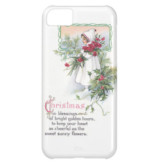 Holly Poinsettia Little Girl Vintage Christmas Case For iPhone 5C