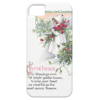 Holly Poinsettia Little Girl Vintage Christmas iPhone 5 Covers