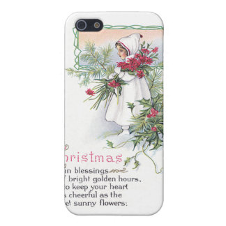 Holly & Poinsettia Little Girl Vintage Christmas Cover For iPhone 5/5S