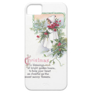 Holly & Poinsettia Little Girl Vintage Christmas iPhone 5 Cover