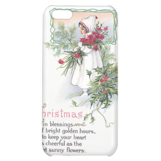 Holly Poinsettia Little Girl Vintage Christmas Cover For iPhone 5C