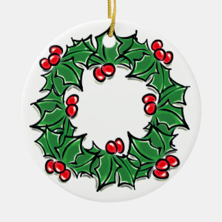 Holly red berries and green leaves wreath christmas ornament
