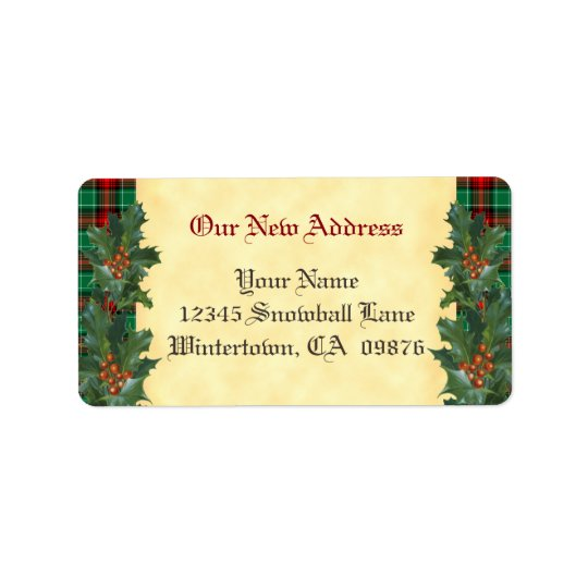 Holly Red Green Plaid Holiday Custom New Address Address Label