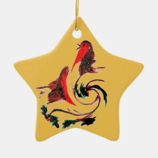 Holly Robin Dance Christmas Ornament