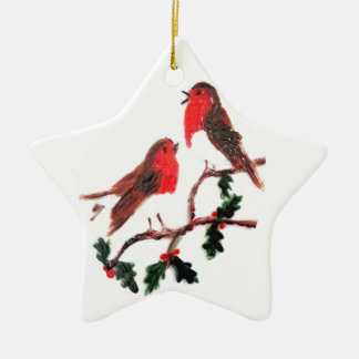 Holly Robin Festive Art Christmas Ornament