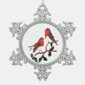 Holly Robin Festive Art Pewter Snowflake Decoration
