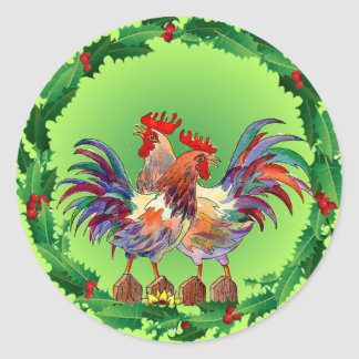 HOLLY ROOSTERS by SHARON SHARPE Classic Round Sticker