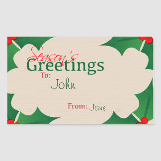 Holly Season's Greetings Gift Tag Rectangular Sticker