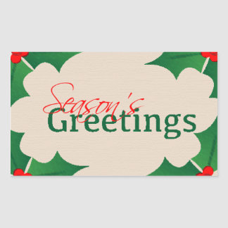 Holly Seasons Greetings Sticker Rectangle
