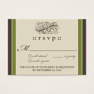 "::holly:: Simply Elegant 3.5""x2.5"" RSVP Card_v2 Business Card"