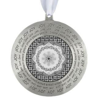Holly & Snowflake Joy-Love-Peace Ornament Round Pewter Ornament
