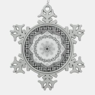 Holly & Snowflake Pewter Snowflake Ornament